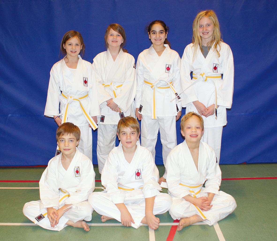 Gul-vitt bälte stående: Heidi Suatan, Petronella Nilsson, Emelie Aydin, Elin Edlund. Sittande: Rasmus Blomgren, Rasmus Nielsen, Leo Sellei